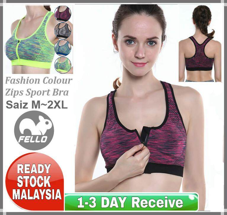 361c0f907bab (Ready Stock Malaysia) Women Colourful Zips Sport Bra Training Fitness  Exercise Running Gym Yoga