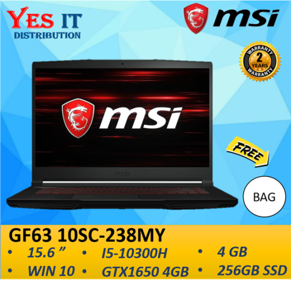 MSI GF63 Thin 10SC-238MY 15.6 Gaming Laptop ( i5-10300H, 4GB, 256GB SSD, NVIDIA GTX1650, W10H, 2YW ) FREE BAG Malaysia