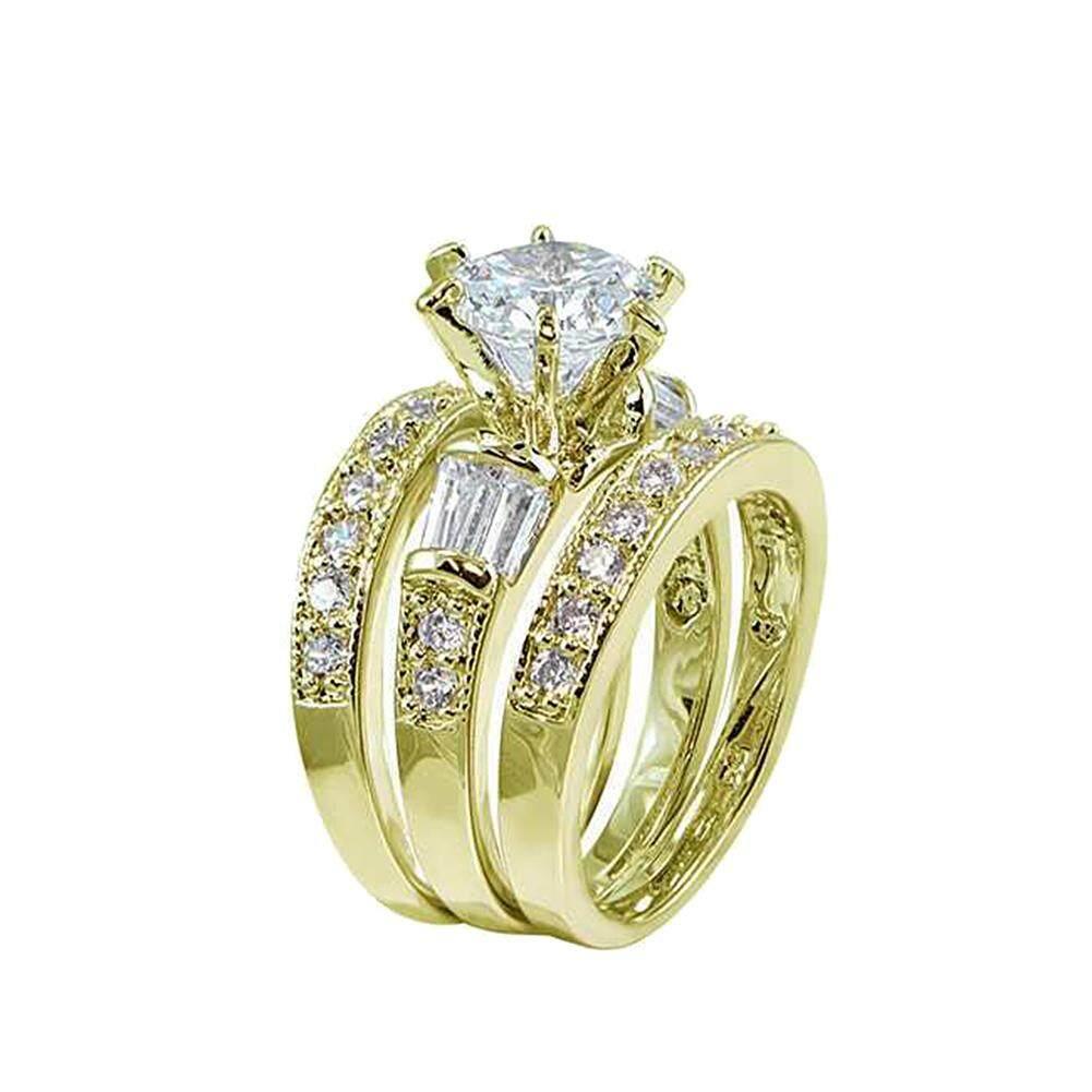 87db7f0d54 Gravitational wave 3Pcs Rhinestone Jewelry Gift Fashion Women Engagement  Wedding Party Ring Band