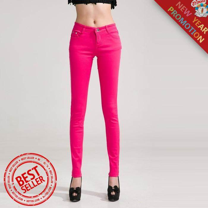 New Autumn Fashion Pencil Jeans Woman Candy Colored Mid Waist Full Length Zipper Slim Fit Skinny Women Pants White By Nantang Boutique Store.