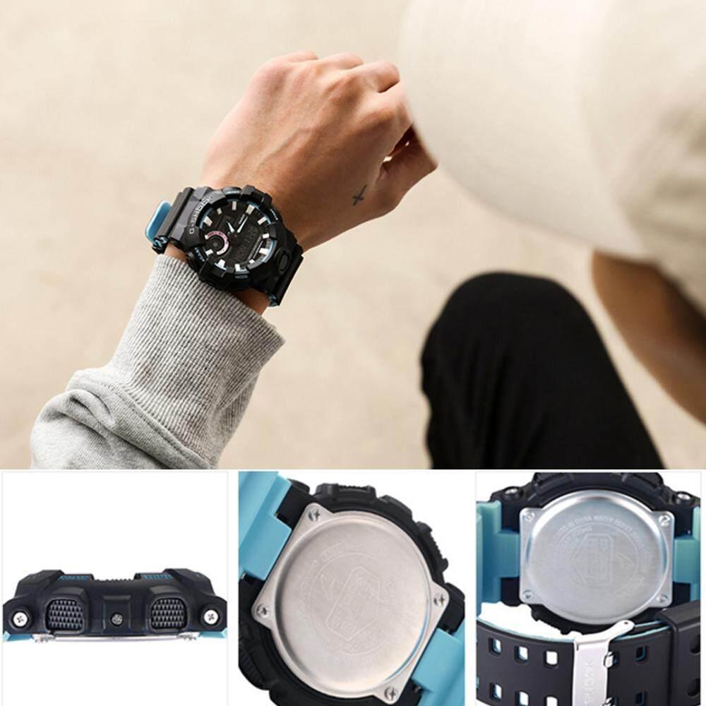 การใช้งาน  มหาสารคาม 【 STOCK】Original _ Casio_G-Shock GA700 Duo W/เวลา 200M กันน้ำกันกระแทกและกันน้ำโลกนาฬิกากีฬาไฟแอลอีดีอัตโนมัติ Wist นาฬิกากีฬาสำหรับ MenBlack Blue GA-700P