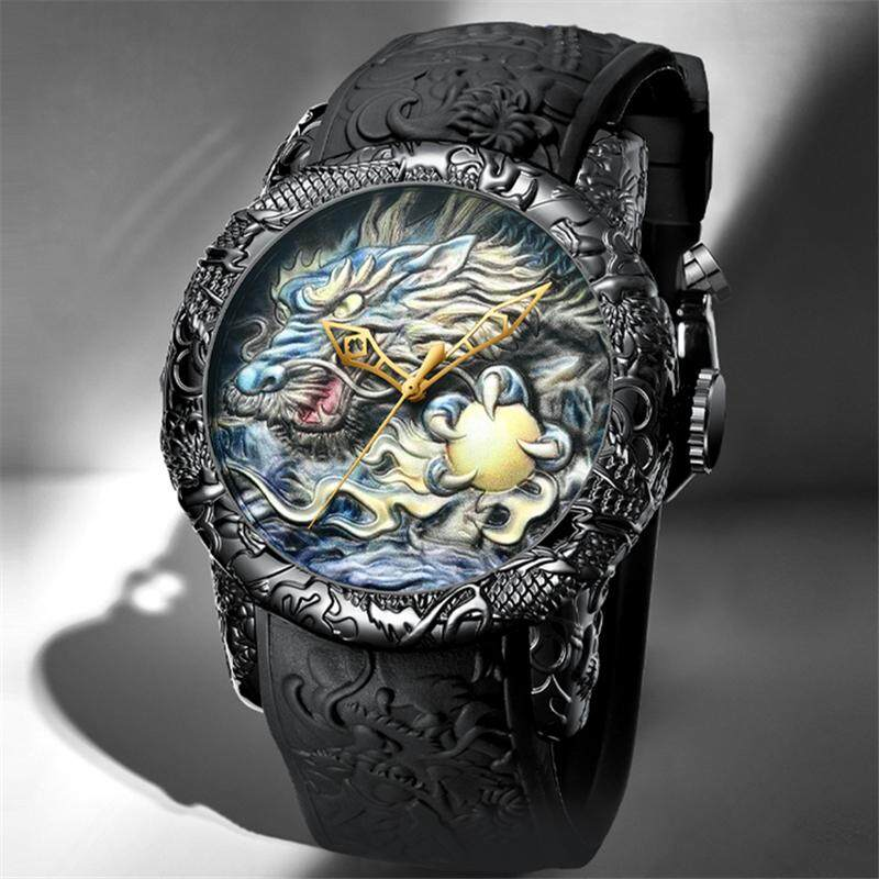 BIDEN Luxury Brand Fashion Mens Watches 3D True Dragon Sculpture Simulation Quartz Clock Outdoor Casual Sport Waterproof Analog Watch Men Watch Malaysia