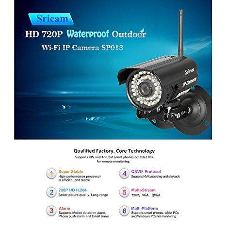 Sricam SP013 Wireless 720P Megapixel H 264 Wifi Waterproof Security CCTV  WLAN IP Camera / Mezrit Sdn Bhd