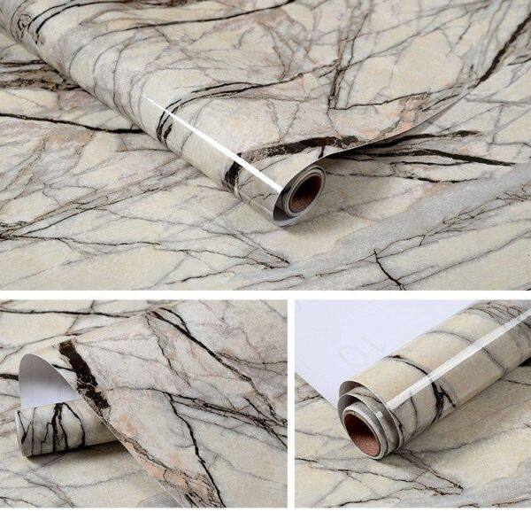 Thickened Marble Stickers Kitchen Countertop Cabinet Furniture Renovation Stickers Desktop Waterproof Oil-Proof Wallpaper Self-Adhesive