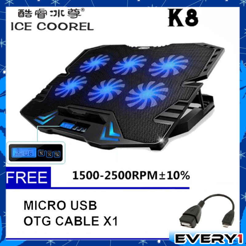 ICE COOREL K8 Super Mute 6 Fans Ice Cooling Technology Cooler Pad with Rack Stand and Built-in LCD Display 5 Speed control of Fans for Laptop (NB48)-Black Malaysia