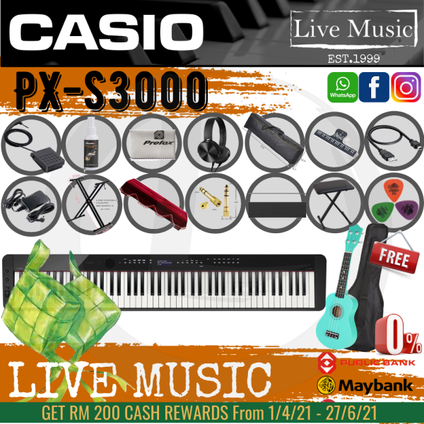 Casio PX-S3000 88 Keys Digital Piano *Raya Sale* with Bench, Bag, Keyboard Stand, Damper Pedal (PXS3000 / PX3000) Malaysia