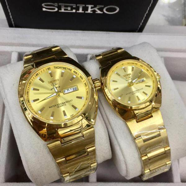 SPECIAL PROMOTION SEIKO_5 ANALOG STAINLESS STEEL WATCH SET FOR COUPLES Malaysia