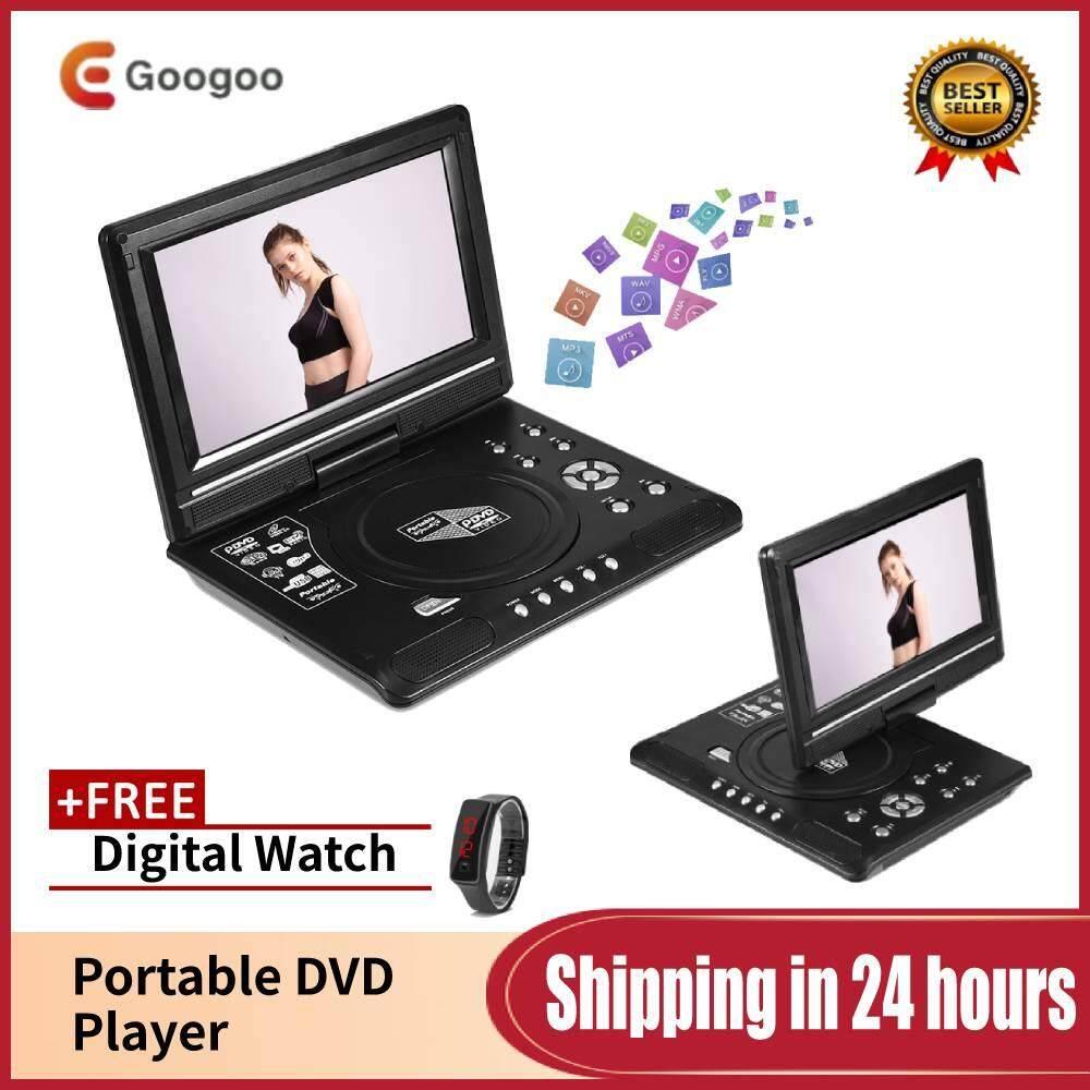 【Free gift】Googoo Rotatable 9 inch Portable LCD Widescreen DVD Video Player  FM Radio Game SD USB AV CD VCD