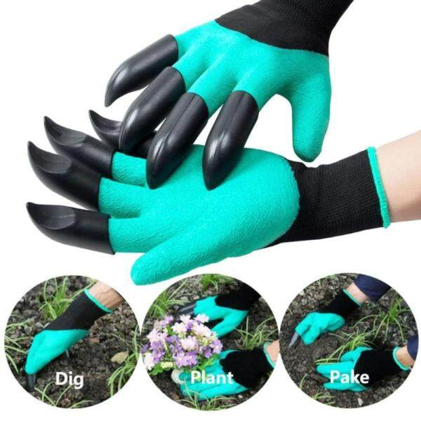 L-Sweet 1 Pair Rubber Polyester Builders Garden Work Latex Gloves Plastic Claws