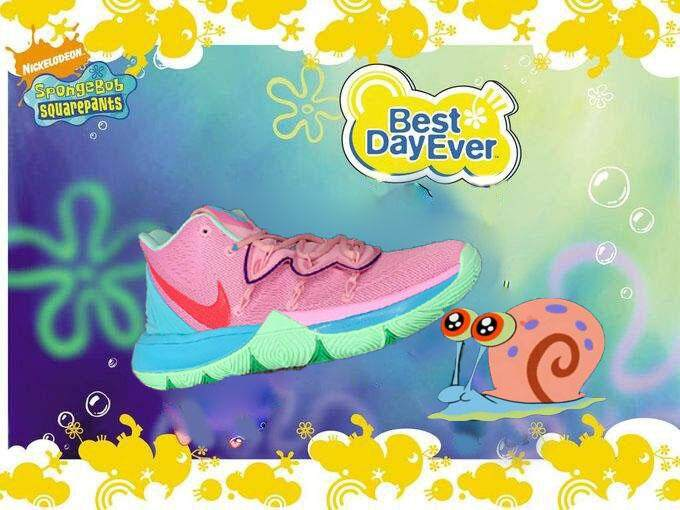 Nike_Kyrie 5 Gary SpongeBob Series Hijau Permen Merah Muda Biru Pria Olahraga Sneakers Irving Asli Sepatu Basket