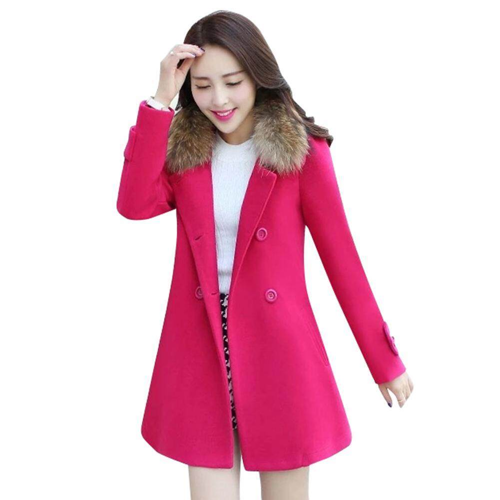 234b47d7ecb Fashionable Winter Women Solid Color Long Sleeve Faux Fur Collar Warm Jacket  Coat