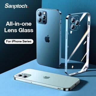 Sanptoch Ốp Điện Thoại Mặt Kính Toàn Bộ Ống Kính Ốp Chống Sốc Túi Khí Mini Cho iPhone 12 Pro Max 12 Dành Cho iPhone 11 Pro Max Trong Suốt Vỏ Bảo Vệ thumbnail