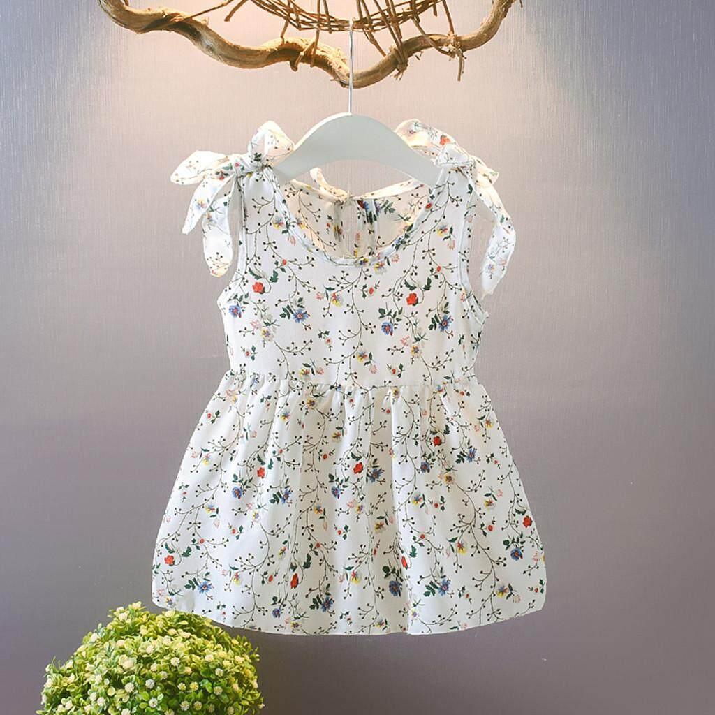 Giá bán Lazadacarell Tập Đi Cho Bé Kids Bé Gái Không Tay Ruy Băng Nơ Váy Đầm Hoa Đầm Công Chúa