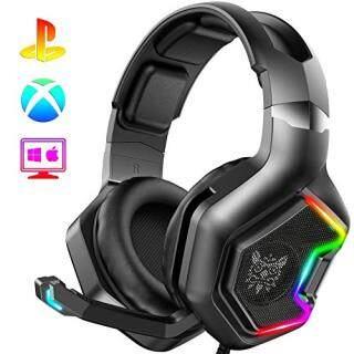 Tai nghe chơi game onikuma K10 Pro, Tai nghe trùm tai có đèn LED RGB, micrô đa hướng cho PS4, máy tính xách tay, máy tính xách tay, PS4, Tai nghe game thủ thumbnail