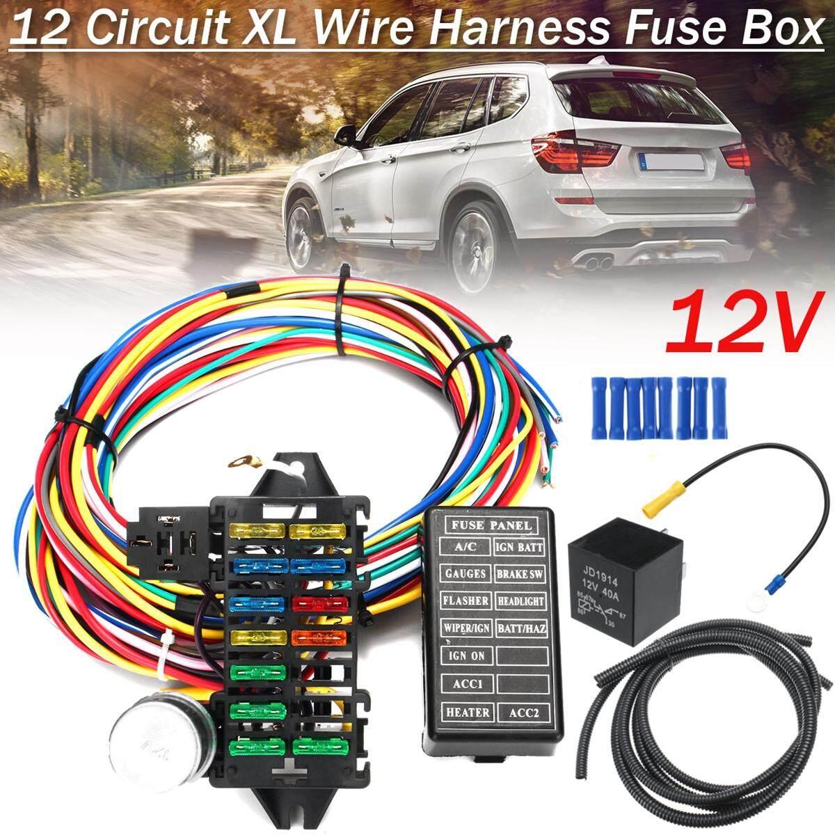 【Free Pengiriman + Flash Deal】12 Pengikat Kabel Sirkuit 14 Fuse 12 V Mobil Otot Hot Rod Stik Jalan XL Paket Kabel