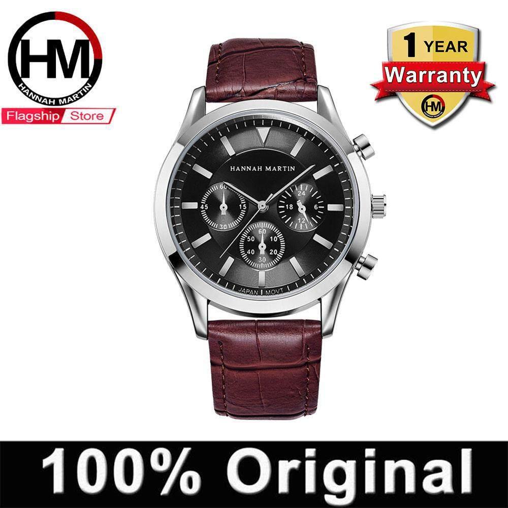 [11.11 CHUP DULU] HANNAH MARTIN Watch for Men Business Casual Waterproof Quartz Watch Fashion Sports Leather Strap Three Small Dials Malaysia
