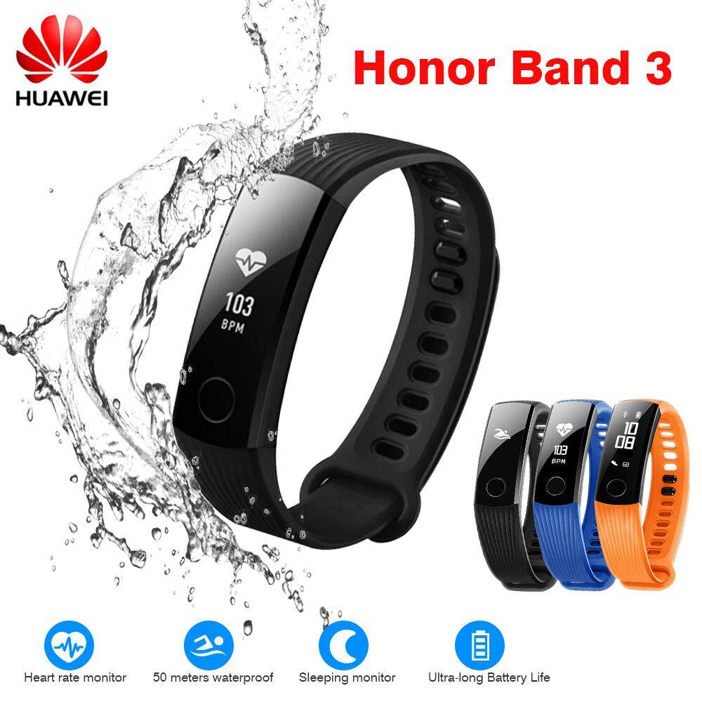 (50m Waterproof) Original Huawei Honor Band 3 Smartband Calories Consumption Pedometer Smart Bracelet Wristband 50 Meters Waterproof For Swimming Fitness Tracker For Android Ios By Islandmall.