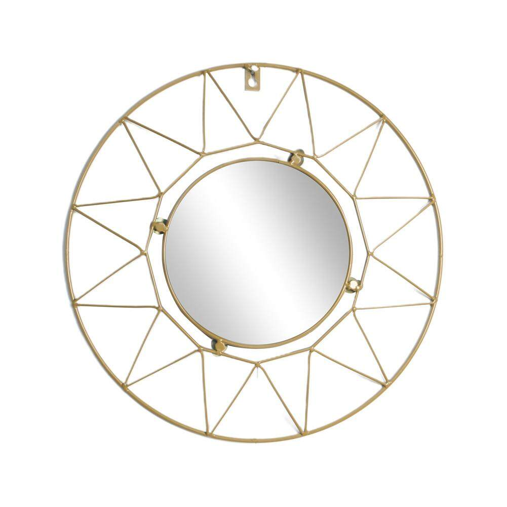 European Metal Wall Mirror Round Decorative Mirror for Living Room Office