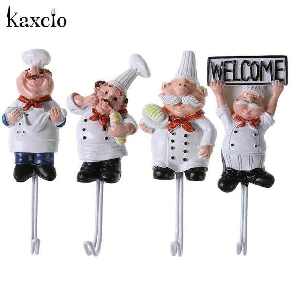 Kaxcio 4 PCS Kitchen Wall Hooks Cartoon Chef Style Resin Power Cord Storage Rack Wall Hanger Cloth Towel Hooks Sticky Seamless Paste Tight Holder