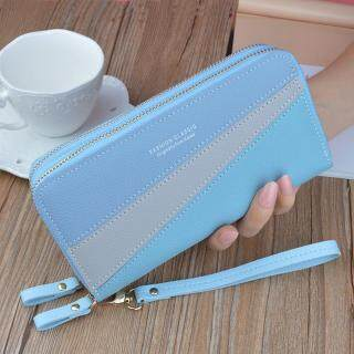 Double Layer Long Wallet for Women, Small Phone Bag Coin Purse - PU Leather Women Clutch Card Holder Passport Bag thumbnail