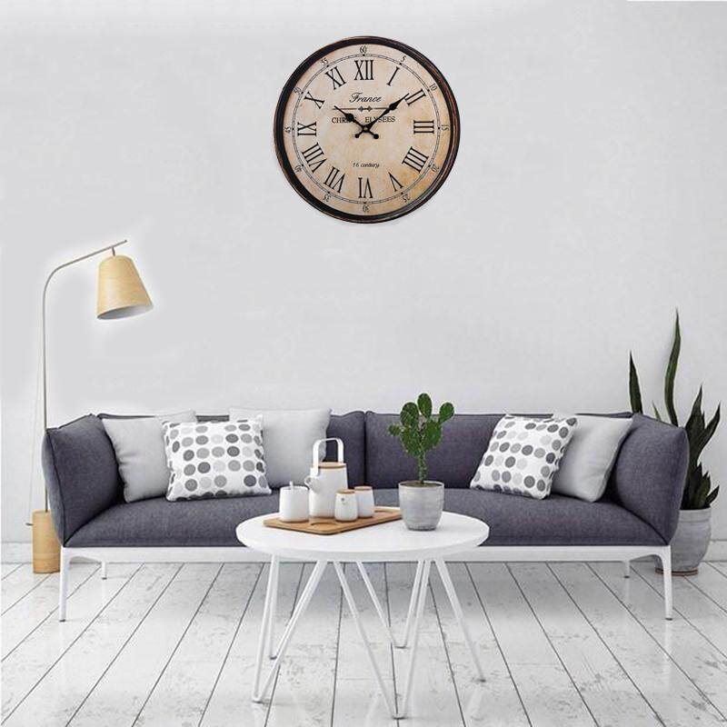 40cm Wooden Wall Clock Large Art Round Roman Numerals Home Bedroom Decor New