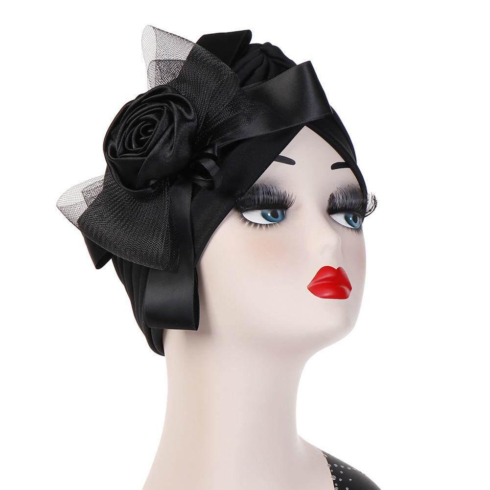 Sanwood®Mode Bunga Mawar Mesh Ikatan Simpul Lipit Wanita Sorban Muslim Topi Pembalut Kepala Cap