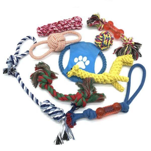 10 Cái Răng Sạch Dog Pet Nhai Dây Đồ Chơi Đặt Có Thể Giặt Bông Bền Tương Tác Giải Trí Đầy Màu Sắc Puppy Bite