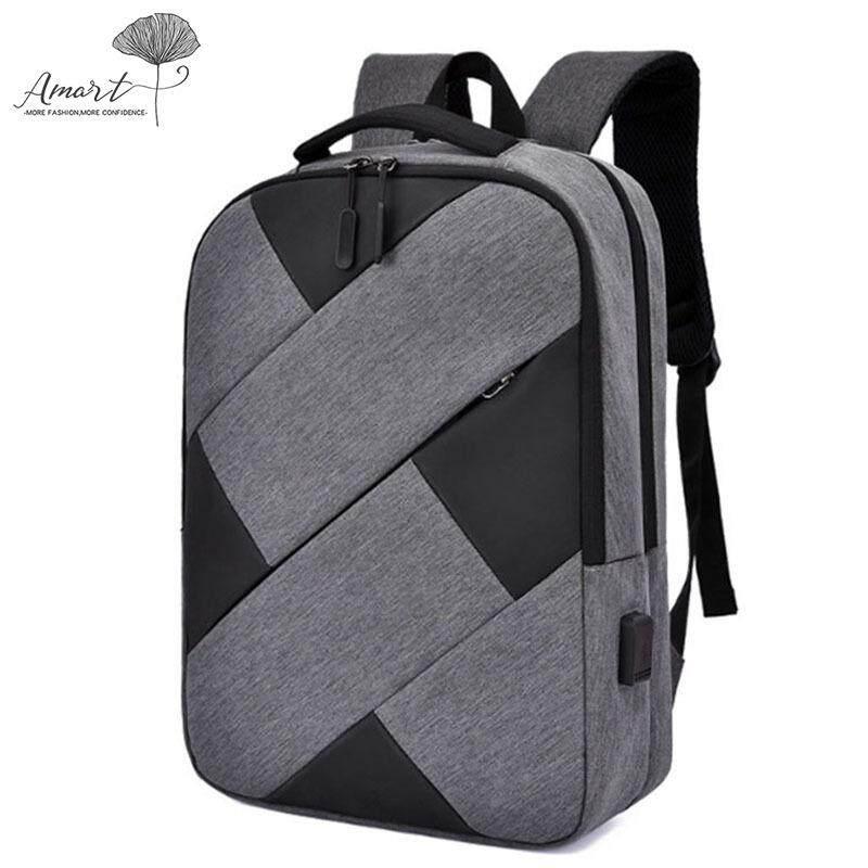 74b06f94f48 Amart Men Laptop Backpack Large Capacity with USB Charging Port Knapsack  for Travel Outdoor