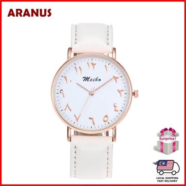 ARANUS Arabic Numbers Men Women Fashion Casual Leather Strap Band Analog Quartz Wrist Watch Jam Tangan Wanita Malaysia