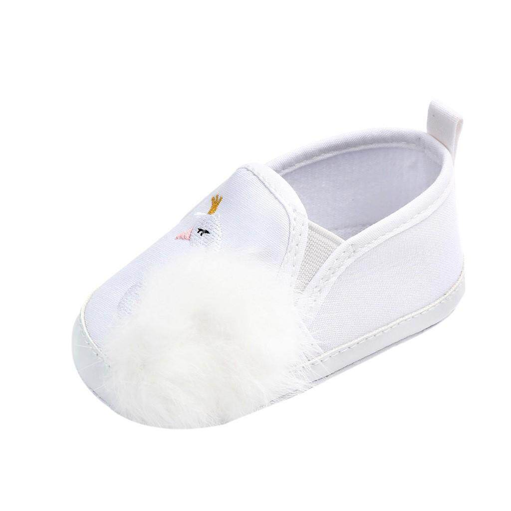 Rayeshop Newborn Toddler Baby Girls Swan Hairball Anti-Slip First Walkers Soft Sole Shoes【reference Size Chart】 By Rayeshop.