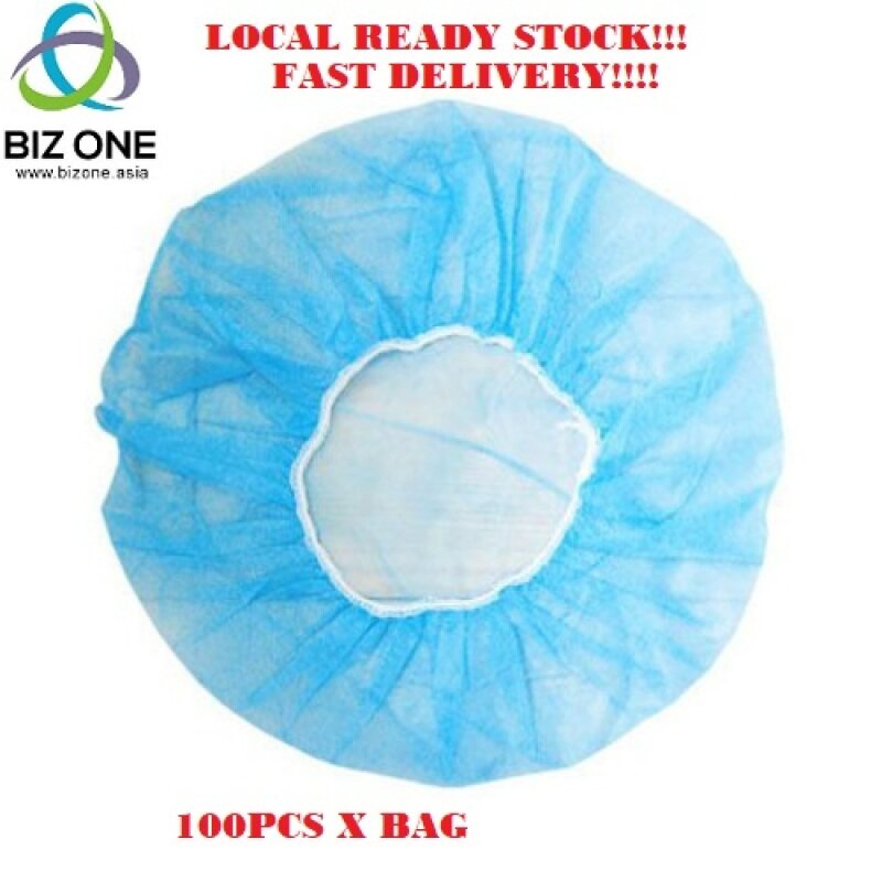 {MALAYSIA SELLER READY STOCK + FAST DELIVERY } 100 Pcs Disposable Non Woven Blue Head protection Bouffant Cap