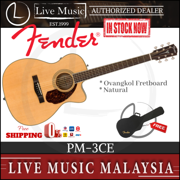 Fender PM-3CE Standard Triple 0 Acoustic Guitar with Case - Natural Malaysia