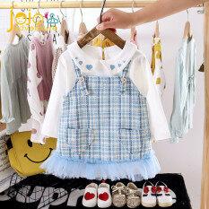Bộ đầm yếm cho bé gái xinh xắn kẻ sọc ngọt ngào đáng yêu chất liệu cotton mềm mịn với da bé JOJO'S