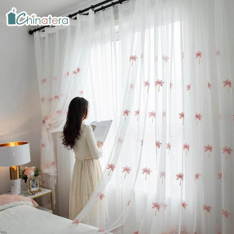 [Chinatera] 100X250 Cm Kiểu Bắc Âu Cây Dừa Hiện Đại Windows Rèm Vải Tuyn Phòng Ngủ Phòng Khách Sợi Màn Mỏng Màn Che