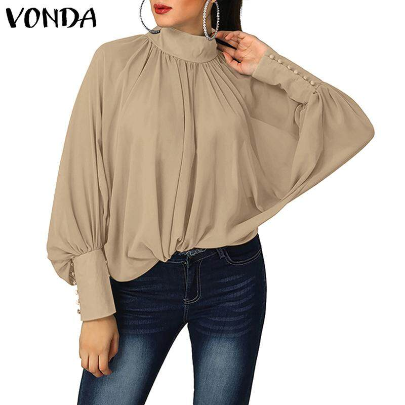 Vonda Women Batwing Sleeve Shirt Ladies Oversized Retro Casual Ruched Top Shirt By Vonda Official Store.