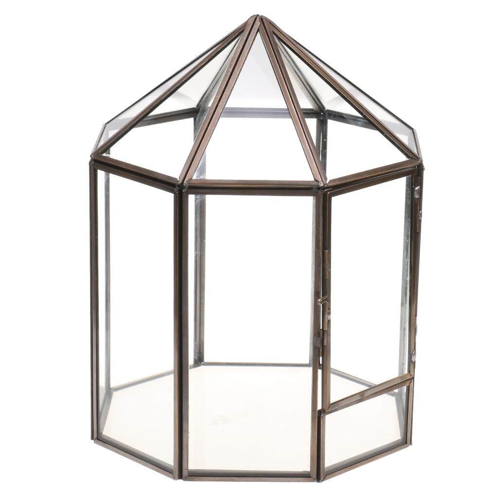Perfeclan Retro Metal Glass Geometric Terrarium Succulent Plant Planter Indoor Decor