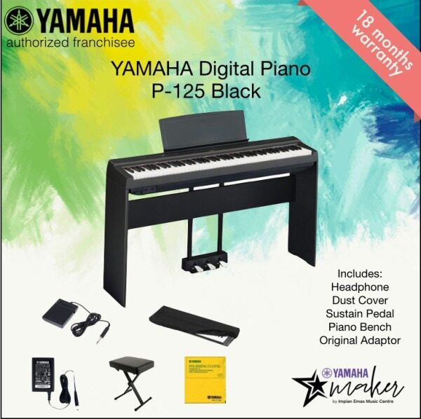 Yamaha Digital Piano P-125 Black Value Package with Stool,Dust Cover, Sustain Pedal and Yamaha Polish Cloth  (P125 / p-125 / p125 /  P-125/P-125B/p125b/P125B) Malaysia