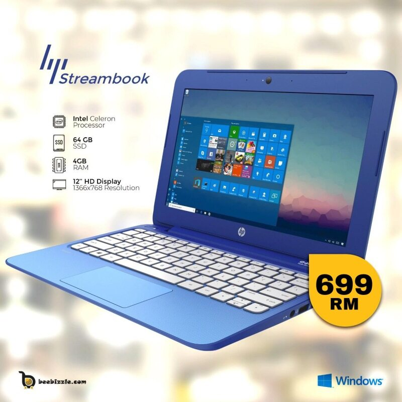 HP STREAM 11 PRO, 4GB Ram, 64GB SSD,12 INCH SCREEN, INTEL PROCESSOR, WINDOWS 10, WEBCAM MICROSOFT OFFICE ,ETC Malaysia