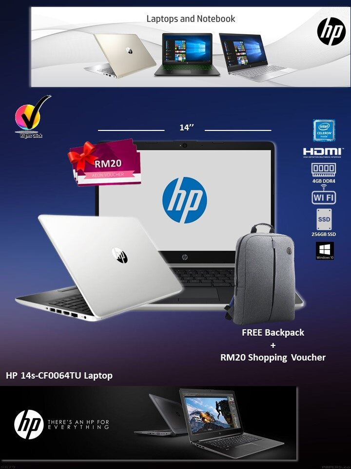 HP Laptop 14s-CF0064TU Celeron/4GB/256GB M.2/Intel/14Inch HD/Win 10/Natural Silver (6JM65PA) *FREE RM20 Shopping Voucher Malaysia