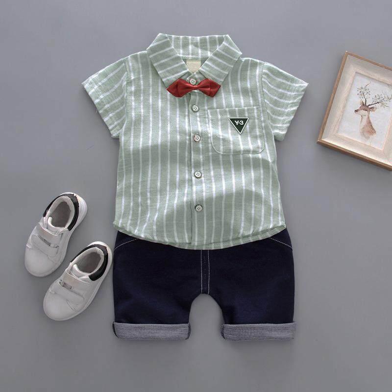 Kids Boys 2pcs Striped Short Sleeve Shirt +shorts By Ropalia Store.