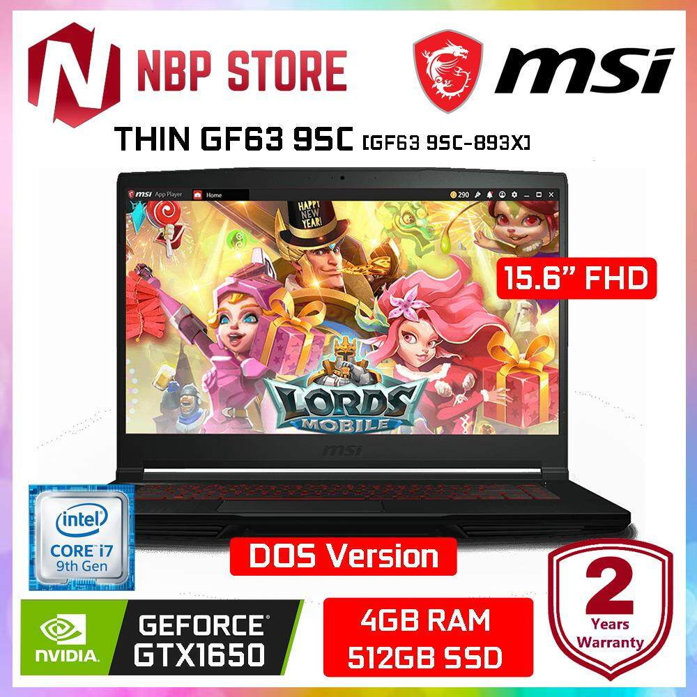 MSI THIN GF63 9SC-893X 15.6  FHD IPS Gaming Laptop Black ( i7-9750H, 4GB, 512GB SSD, GTX 1650 4GB, DOS ) Malaysia