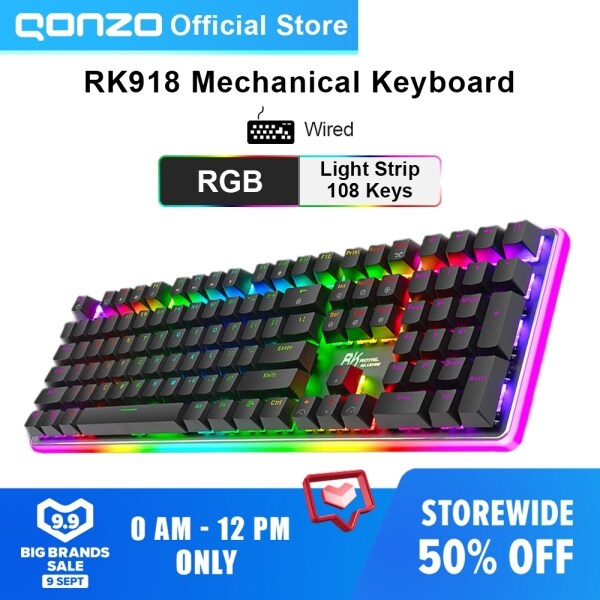 RK918 Wired RGB Backlight Mechanical Gaming Keyboard Macro Programming 108 Keys With Variety of Backlight Effect Red/Blue/Brown/Black Switch Malaysia