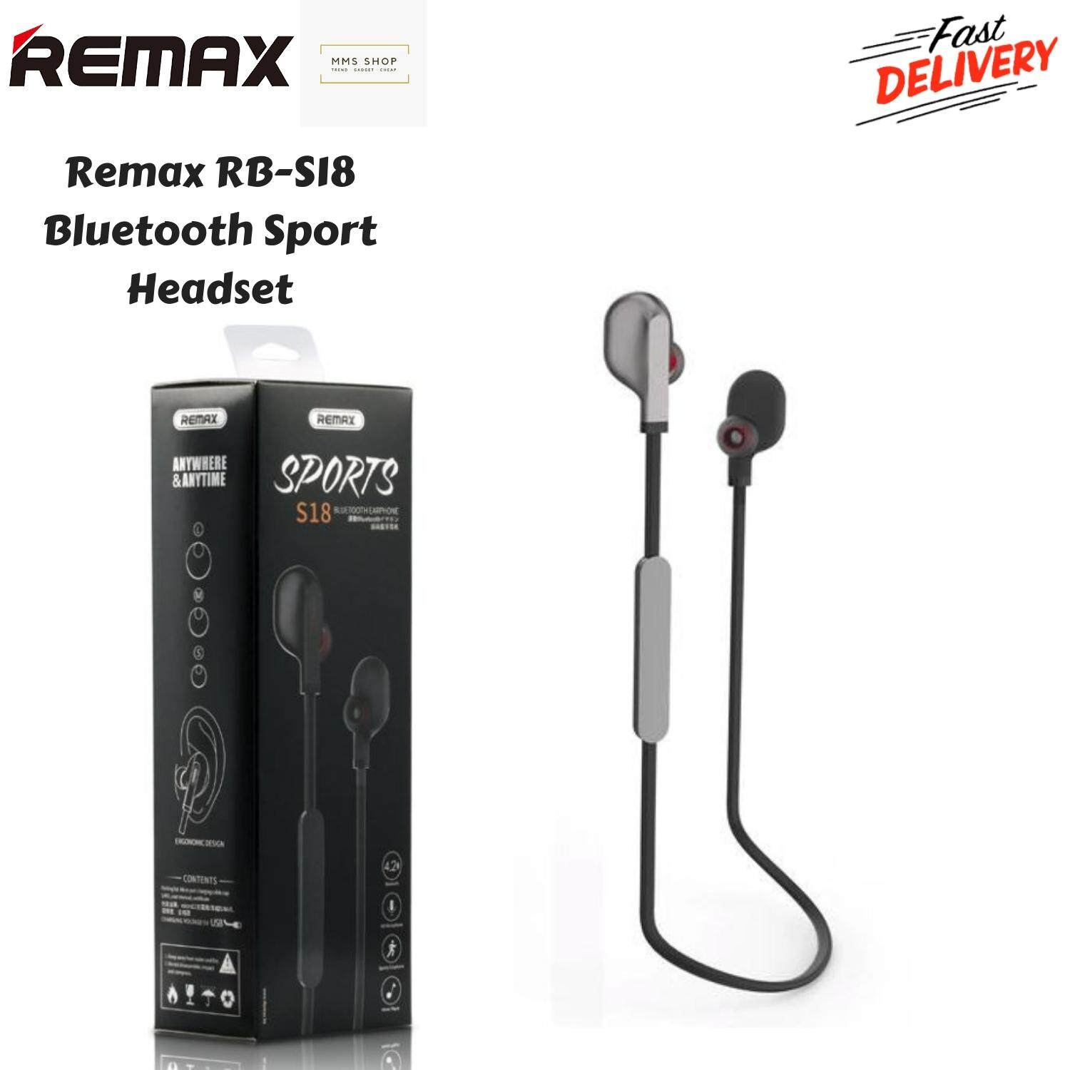 10443a395b9 [Original] REMAX S18 Magnet Sports Bluetooth 4.1 Earphone In-ear Wireless  MIC Outdoor