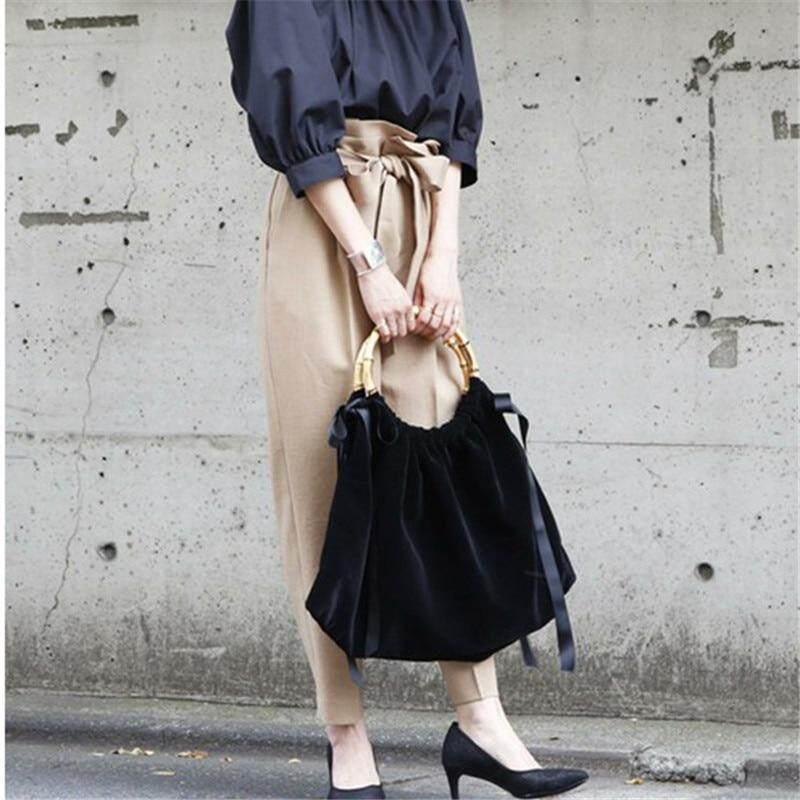 Women Bags Handbag Silk Ribbon Velvet Tote Bag Slub Handbag Bamboo Handles Metal Luxury High Quality Vintage Bag Black Purse