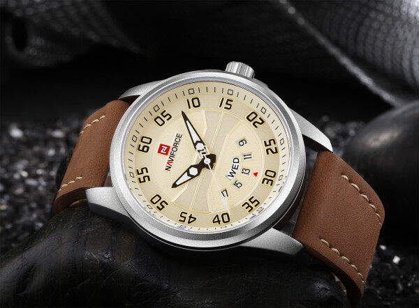 NAVIFORCE Casual Fashion Watch for Man Leather Strap Quartz Watches 30M Waterproof Black Mens Wristwatch 9124 Malaysia