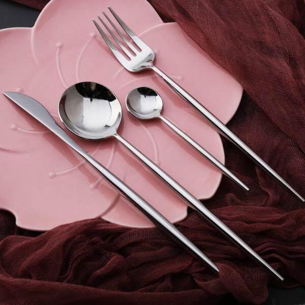 Best Hot Sale 4 Pcs/set silver color Dinnerware Set 304 Stainless Steel Western Cutlery Kitchen Food Tableware Dinner Set