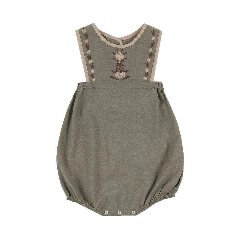 Enkelibb Apo Baby Girl Summer Vintage Romper Lovely Fashion Embroidery Romper Green/pink Colortoddler Bubble Playsuit European.