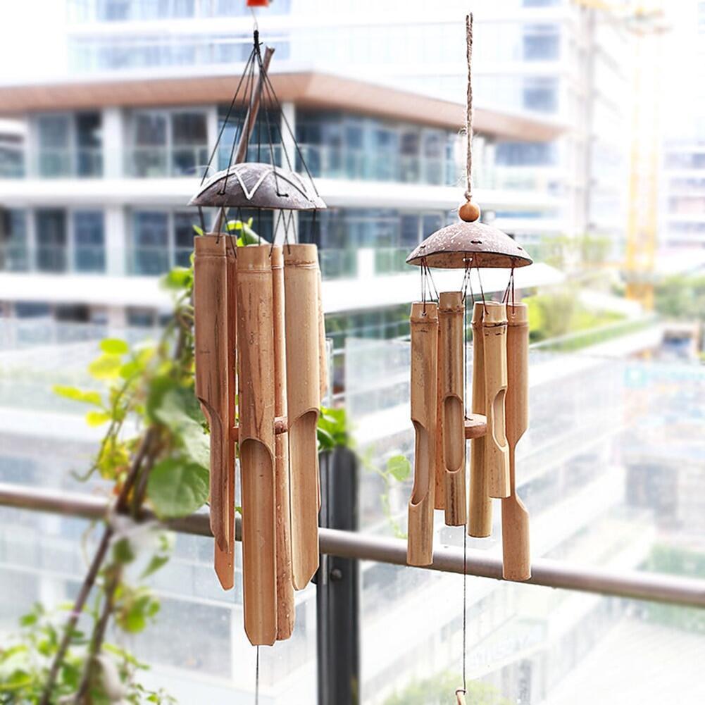 Coconut Wood Handmade Bamboo Wind Chimes Big Bell Tube Wind Chime Home Decor.
