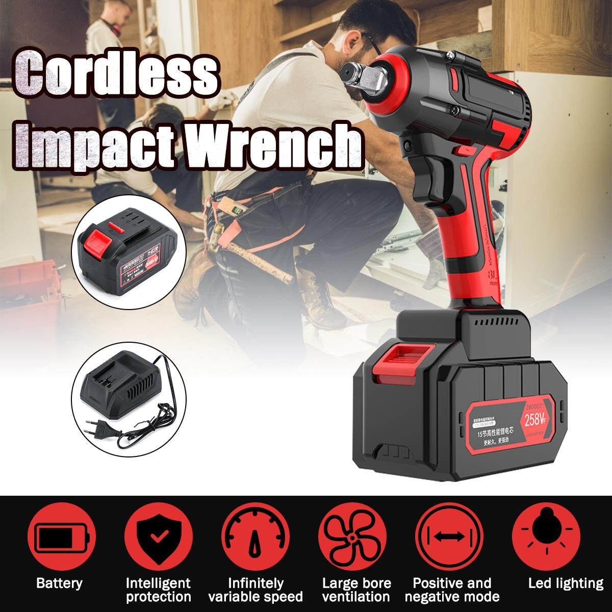 40000mAh【 358tV 】Electric Cordless 1/2  680Nm Impact Brushless Wrench Torque Drill【EU Plug】