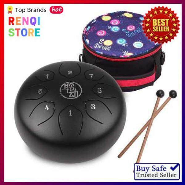 [SPECIAL OFFER] 6 Inch Steel Tongue Drum Handpan Drum 8-Notes C-Key Percussion Instrument with Mallets Drum Bag Wiping Cloth for Musical Education Concert Mind Healing Yoga Meditation Black (Black) Malaysia